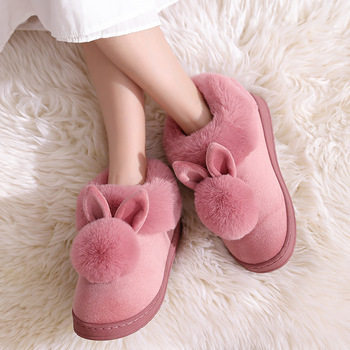 2021 New Fashion Autumn Winter Cotton Slippers Rabbit Ear Home Indoor Slippers Winter Warm Shoes Womens Cute Plus Plush Slippers 6