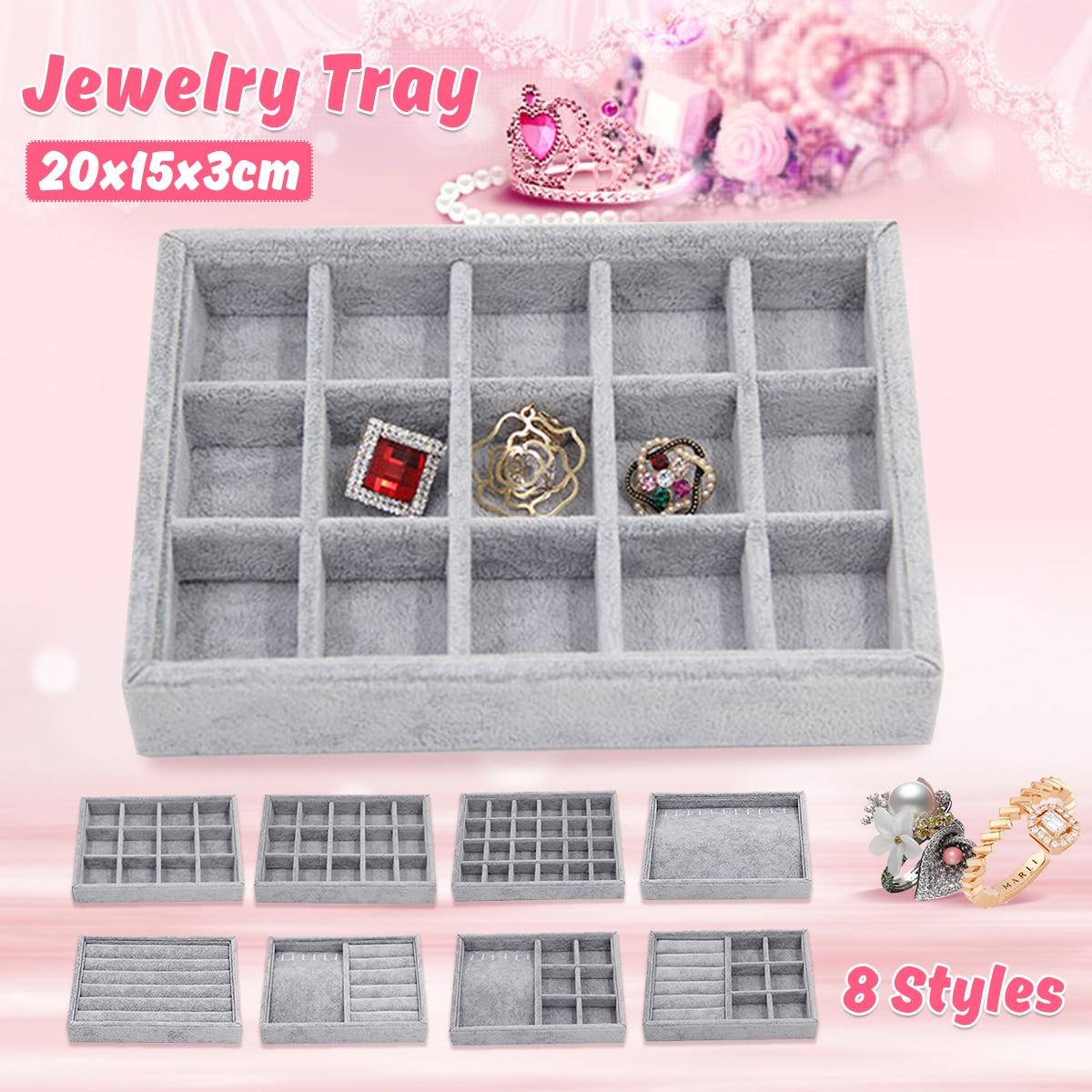 8 Style Elegant Grey Velvet Stackable Jewelry Ring Earring Bracelet Display Tray 24 Girds Case Holder Organizers Storage Showcas