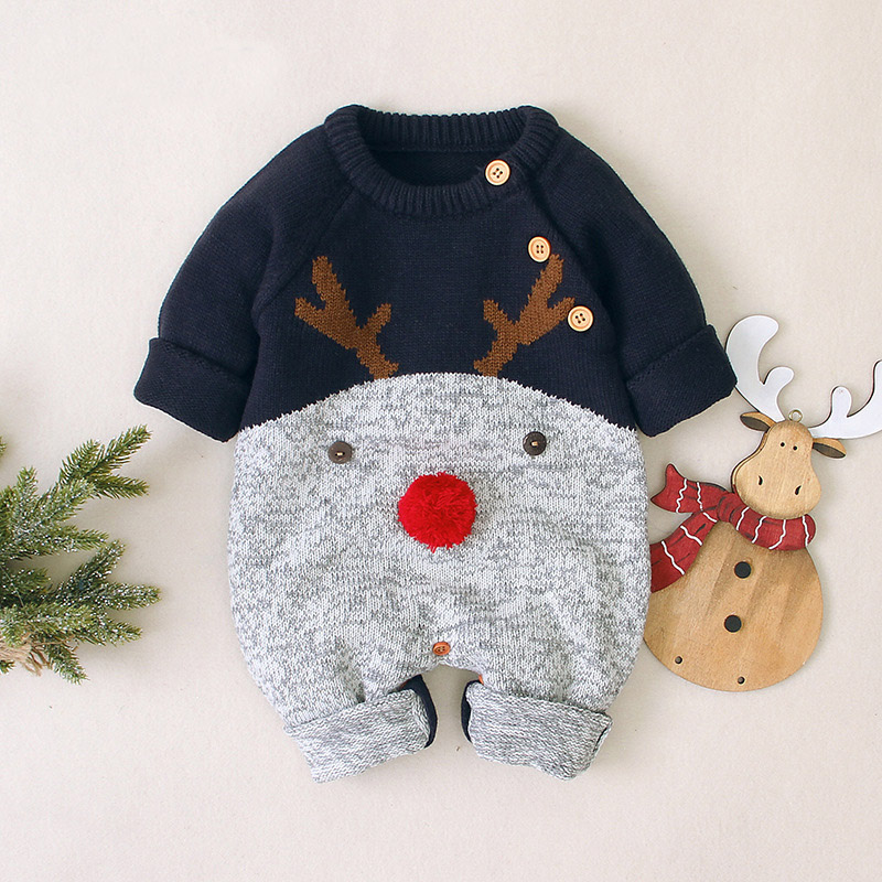 2020 Autumn Winter Newborn Baby Clothes Christmas Sweater Rompers Baby Girls Boys Overalls Infant Costume Kids Toddler Jumpsuit 5