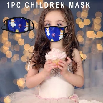 1PC Christmas Theme Children Mouth Stretchy Mask Reusable Washable Safety Earloop Breathable Anti Fog Haze Pollen Mascarillas image