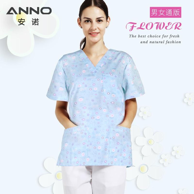 ANNO Cotton Medical Clothing Top Pant Surgery cloths Medical Scrubs Dental Nursing Uniform Surgical Gown Shirts for Women Men
