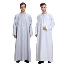 Homem muçulmano jubba thobe quimono longo robe kaftan sólido saudita mussulman usar abaya caftan islam dubai vestido árabe roupa islâmica
