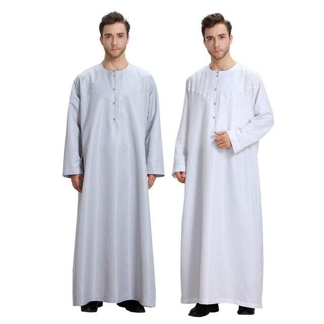 Uomini musulmani Jubba Thobe Kimono Lungo Abito Caftano Solido Arabia Musulman Usura Abaya Caftano Islam Dubai Arabo Vestito di Abbigliamento Islamico