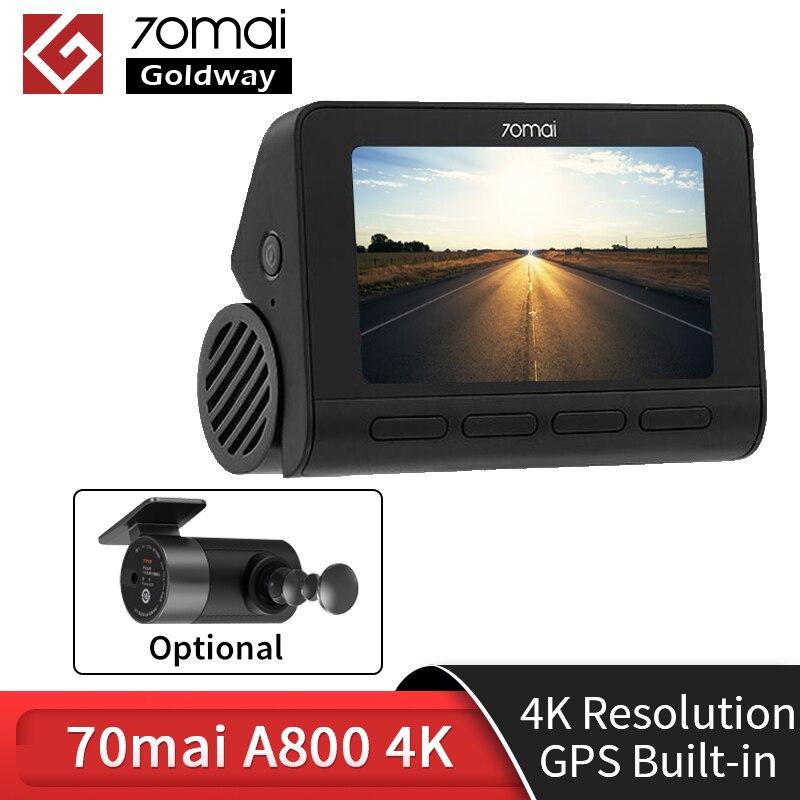 -350₽ Kод :Admitad350dec , 70mai Dash Cam 4 k A800 Встроенный GPS ADAS двойного видения в формате 4 K UHD, Кино-качество изображения 24 часа в сутки для парковочной сист...