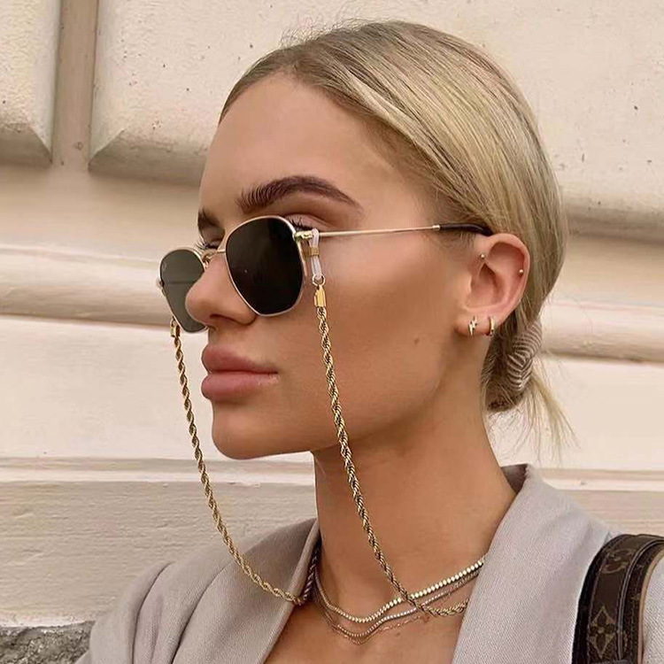 2020 Womens Gold Eyeglass Chains Sunglasses Reading Beaded Glasses Chain Eyewears Cord Necklace Strap Rop