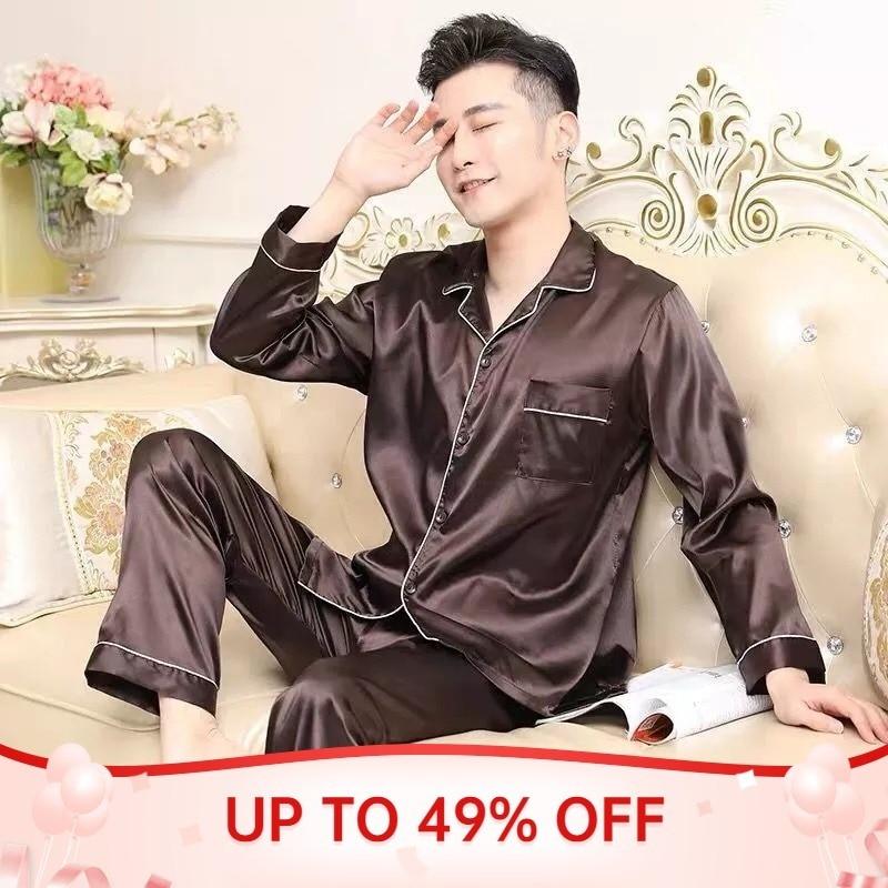 Men Pajamas Set Solid Satin Summer Long Sleeve Autumn Homewear Silk Men Sleepwear Suit Casual Dormir Top Pyjamas Male Sleep Tops