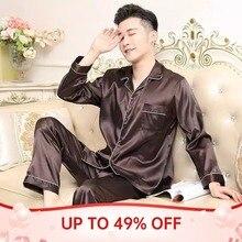 Мужчины пижамы комплект однотонный атлас лето длинный рукав осень домашняя одежда шелк мужские пижамы костюм повседневный дормир топ пижамы мужские сна топы