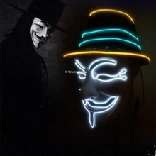 Neon Mask V for Vendetta Mascara Led Guy Fawkes Masque Masquerade Masks Party Halloween Glowing Masker Light Maska Scary