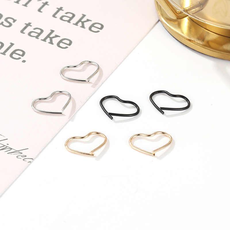 2020 hot Korean trendy heart line ear cuff stud earrings simple temperament gold silver fashion earings jewelry for women femme