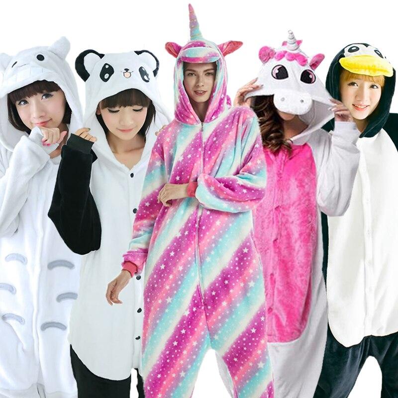 Winter Kigurumi Pajamas Unicorn Pijama Animal Onsie For Women Men Unisex Homewear Totoro Pikachu Soft Comfortable Kids Sleepwear