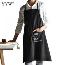 Kitchen Apron For Hairdresser Aprons Woman Cooking Cotton Antifouling Waterproof Couple Delantal Avent Black