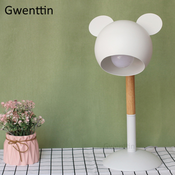 Nordic Mickey Wood Table Lamps Led Stand Light Fixtures Modern Desk Lamp for Living Room Bedroom Home Decor Reading Luminaire