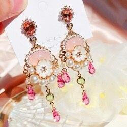 MENGJIQIAO New Vintage Luxury Pink Crystal Drop Earrings For Women Girls Elegant Pearl Beads Tassel Pendientes Jewelry Gifts