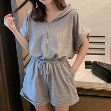 Womens Summer Black Grey Jumpsuit Shorts Casual Loose Short Sleeve Playsuits Solid Female Rompers Pockets Overalls
