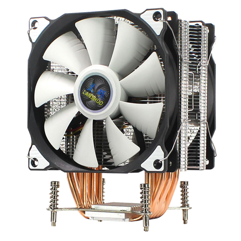 LANSHUO CPU Silent Single/Double Fans 6 Heat Pipe 4 Wire Intelligent Temperature Control CPU Cooler Fan For Intel LGA 2011