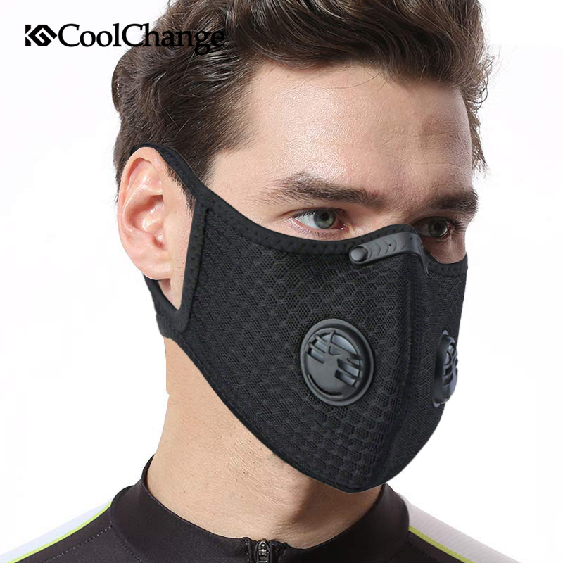CoolChange Cycling Face Mask Filter Anit-fog Anit-pollution Breathable PM2.5 Activ Carbon Respirator Sports Bike Dust Mask