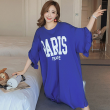 New fashion Ruffled sleeve letter dress Loose Korean version of the long short-sleeved t-shirt Printed