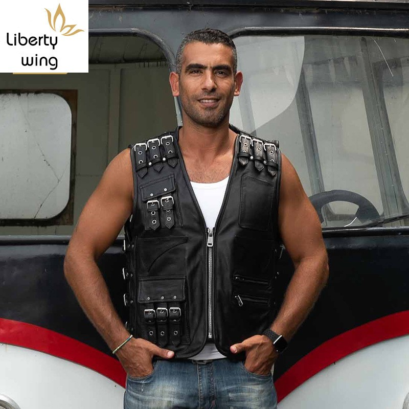 High Quality Luxury Genuine Leather Fashion Men Slim Fit Sleeveless Vest Casual Belt Buckle Pocket Biker Jacket Male