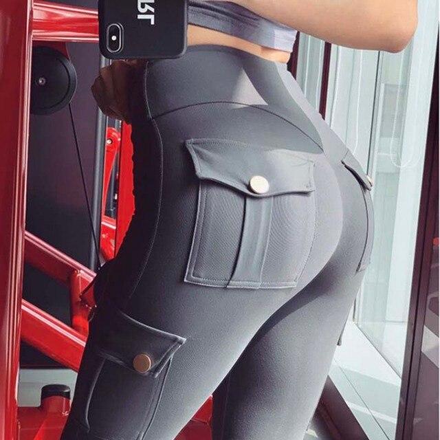 NORMOV Fitness polainas de las mujeres con bolsillo sólido alto cintura arriba poliéster polainas de carga pantalones casuales Hip Pop Pantalones 6
