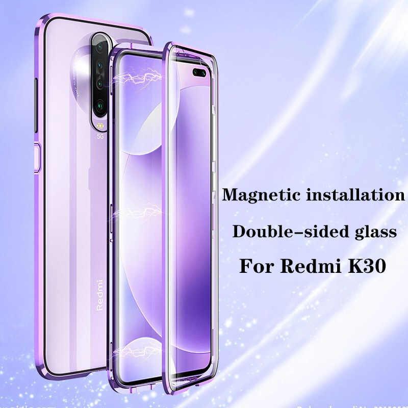 両面磁性金属ケースxiaomi mi 9 se CC9 A3 liteポコF1 9tガラスカバーのためのredmi K30 K20 注 8t 8 7 10 プロケース