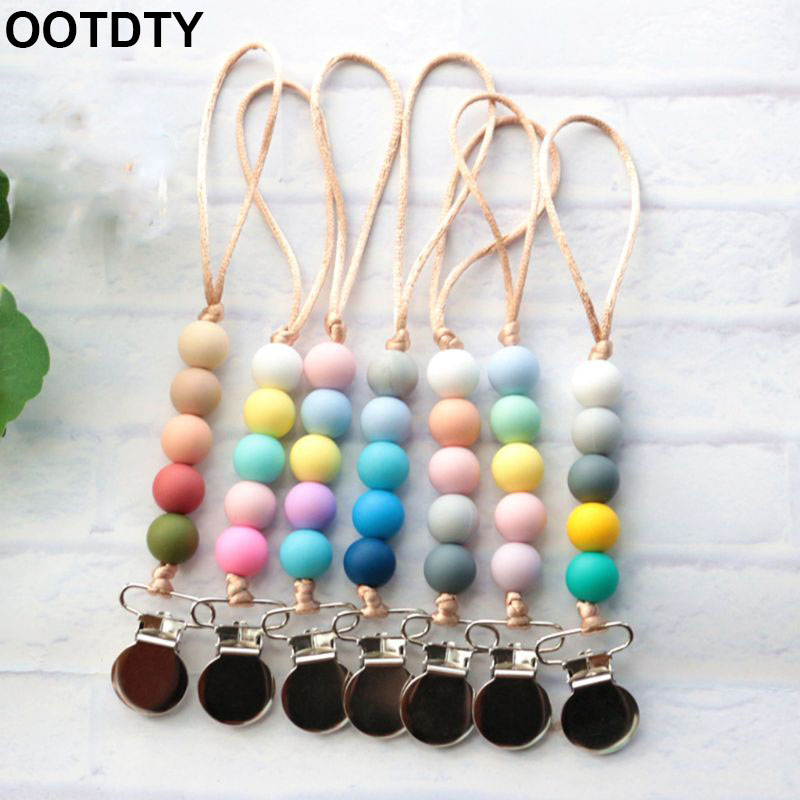 Baby Boys Girls Pacifier Chain Silicone Bead Teething Emboss Toy Infants Soother