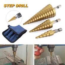 Набор ступенчатых сверл jgzui комплект из 3 насадок быстрорежущей