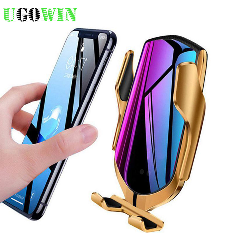 UGOWIN Automaitc Fast Wireless Car Charger for iPhoneXsMax/Xr/8 Robot Arm Car Wireless Charger for Samsung S10/S9 Huawei P30 pro