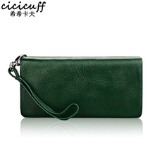 Soft Genuine Leather Women Wallets Purse Lady Clutch Long Wallet with Zipper Coin Purse Women's Wrist Strap Money Phone Bag New