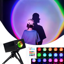 16 Color Sunset Projector Light USB Atmosphere Floor Lamp Rainbow Projection for Background Wall Room Creative Decor Night Light