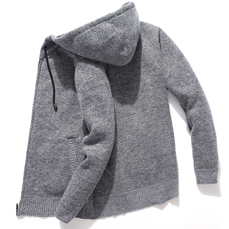 Hooded Knitted Man Sweater Fleece Cardigan Oversized Men's Sweater Winter Casual Solid Hoodies Sweater Homme Knitted Men Coats 1