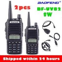 1 uds/2 uds $TERM impacto BaoFeng UV-82 Walkie-Talkie 8 vatios U/V Baofeng UV 82 Headset Walkie Talkie 10 KM Baofeng 8 W Radios uv 9r de radio de jamón