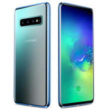 Manderm Phone Case For Samsung Galaxy S10 Full Body Protection Magnetic Adsorption Metal Tempered Glass Case For S10 Plus