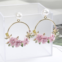 Han edition ins web celebrity in same flower studs pearl earrings to taste sweet ls female speed sell hot style