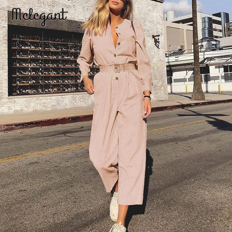 Melegant Pink Safari Style Women Jumpsuit Autumn Winter 2019 Jumpsuits Romper Casual Corduroy Belt Long Romper