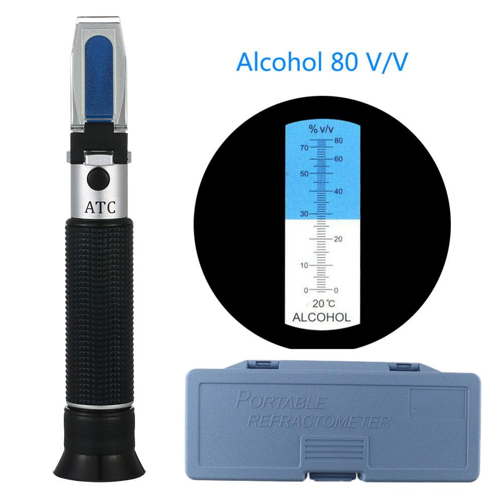 Portable Alcohol Content Tester 0-80% V/V ATC Refractometer Liquor Concentration Meter With Retail Box