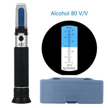 Portable Refractometer Alcohol Content Tester 0-80% V/V ATC Refractometer Liquor Concentration Meter
