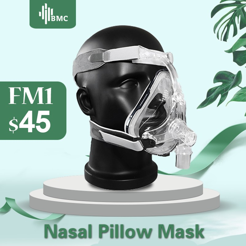 BMC FM1 Full Face Mask For Snoring Apply To Medical CPAP BiPAP Silicone Gel Material Size S/M/L With Headgear Clip Free Shipping