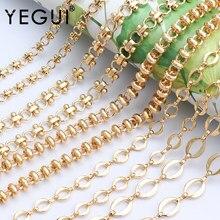 YEGUI C77, cadena de bricolaje, chapado en oro de 18k, 0,3 micras, accesorios de joyería, metal de cobre, dijes, fabricación de joyas, collar de cadena de bricolaje, 1 m/lote