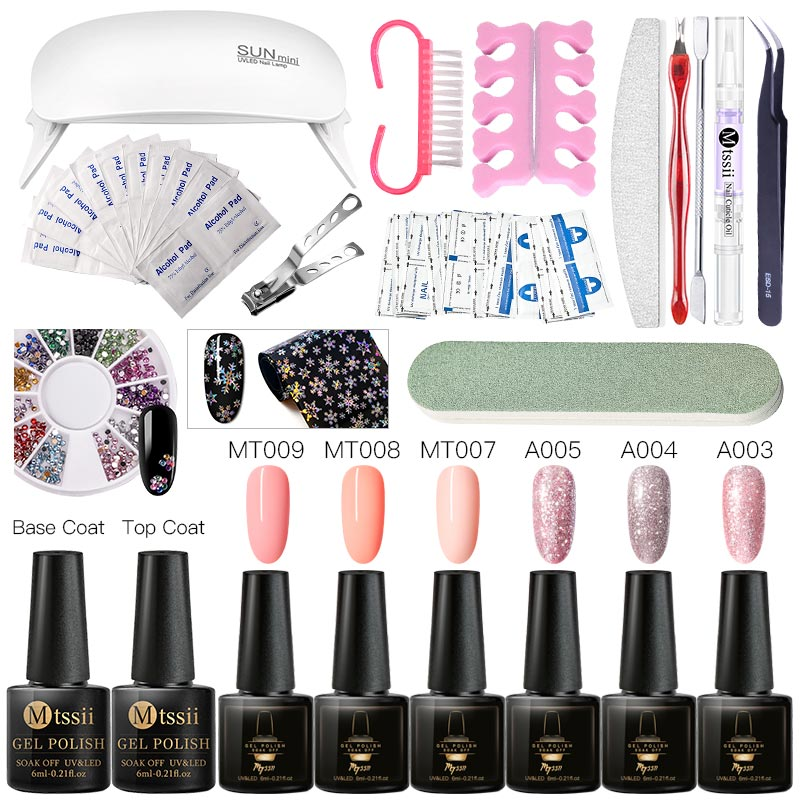 Mtssii 6ml Color Nail Gel Polish Set UV Vernis Semi Permanent  Soak Off Gel Varnish Nail Art Kit Manicure Gel Lak Polish