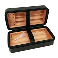 Cigar Humidor Case Portable Cedar Wood Cigar Travel Leather Humidor Storage Box Cedar Tray Cigarette Container For 6 Cigars Gift