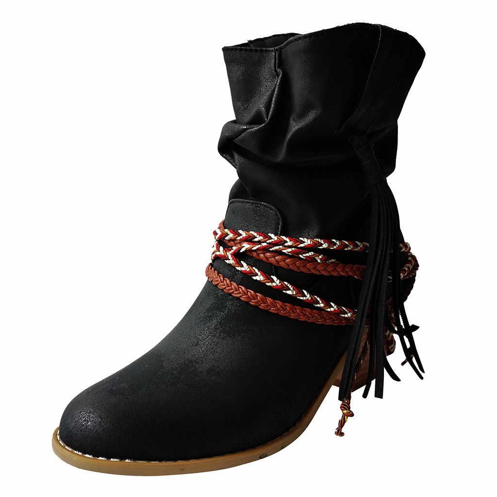 Moda kışlık botlar kadın saf renk yuvarlak Toe Slip-On kare kök topuklu Vintage ayakkabı kadın dantel-up orta buzağı püskül çizmeler