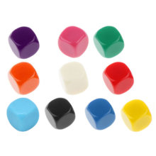 10 Pcs/lot Filleted Corner Blank Dice DIY Puzzle Game 6 Sided Colorful Dice Funny Game Accessory 16mm(China)