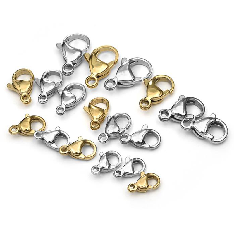 20/60pcs 9/10/11/12/13/15mm Stainless Steel Lobster Clasps Hooks End Connectors For Jewelry Making DIY Bracelet Necklace Buckle