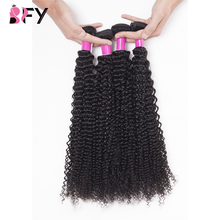 BFY Kinky Curly Bundles 100% Human Hair 4 Bundles Deals Peruvian Hair None Remy Hair Bundles Natural Color Hair For Black Women(China)