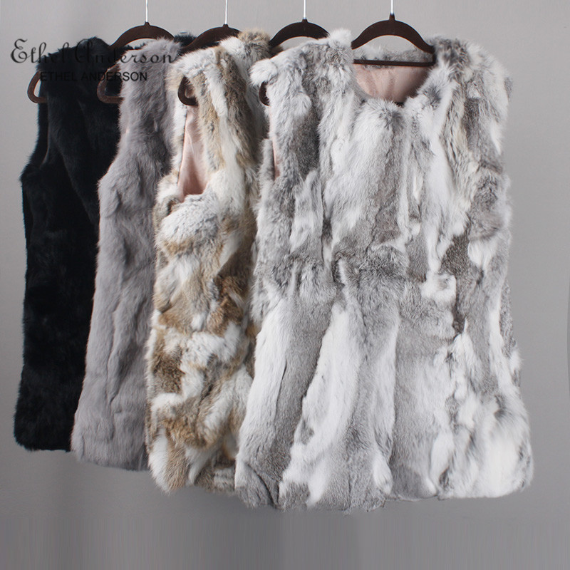 ETHEL ANDERSON Women Real Rabbit Fur Vest Genuine Fur Coats For Laides Fur Vest Gilet Long Style Coat Outwear Gilet