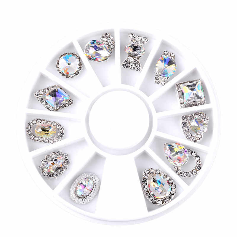 Nail Art Wheel Rhinestone Diamond Gems Metal AB Crystal Glitter 3D Tips Accessoires Jewelry Manicure Tools Decoration DIY Design