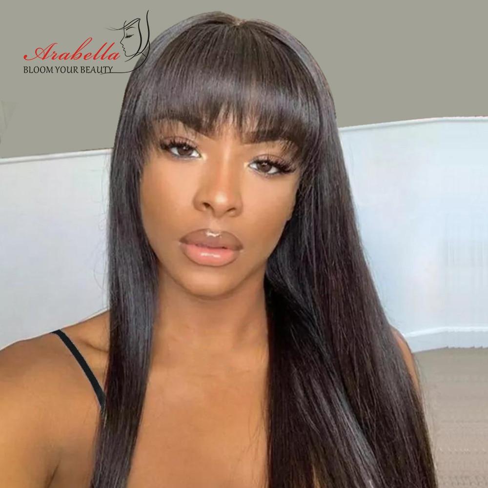 Glueless  Wigs With Bangs Arabella Hair  Straight Hair Wigs Silky Wig Full Machine Made Fringe Wig 3