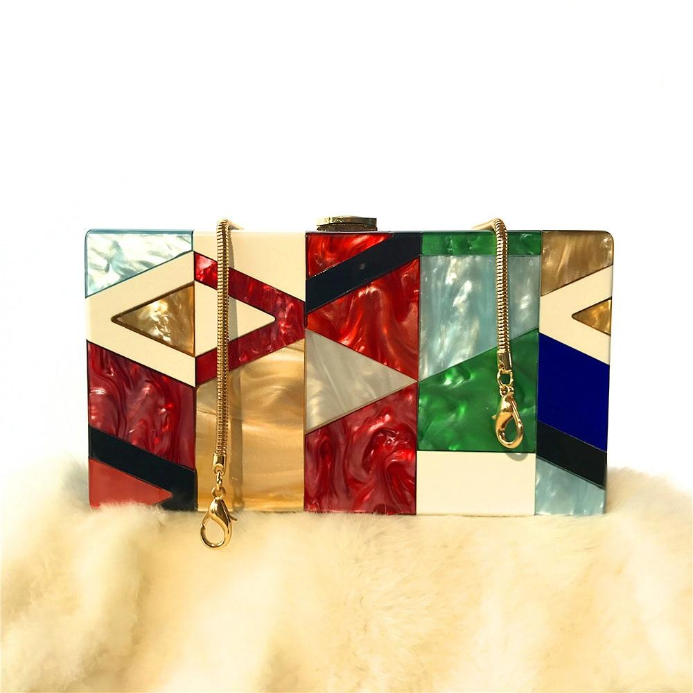 Clutch-Bags Dinner-Bag Evening Women Acrylic-Box Geometric Stitching-Color