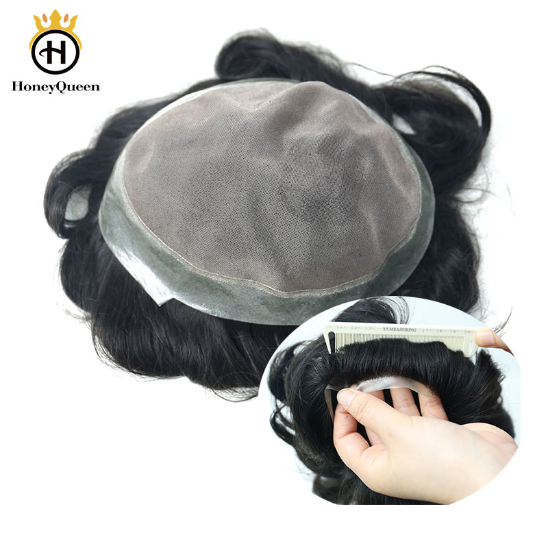 Toupee Men Fine Mono Poly Around Natural Looking 100% European Human Hair Toupee PU Replacement System 1B# Color Remy