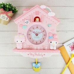 Reloj de pared de cuarzo columpio con My Melody de dibujos animados de 12 pulgadas para dormitorio